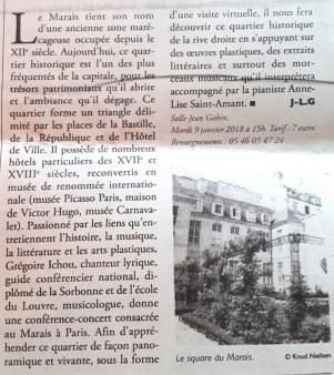 Article du Littoral sur ma conférence-concert à Royan
